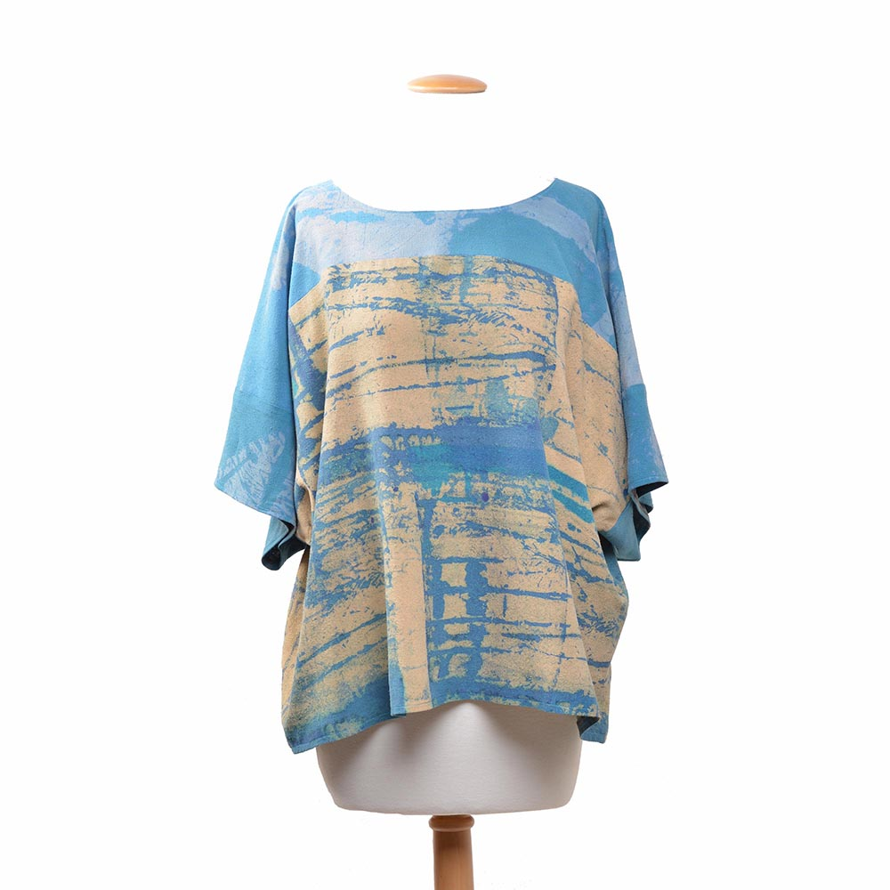 blue and cream short sleeve silk top, handmade artistic clothing, folk art center apparel,
