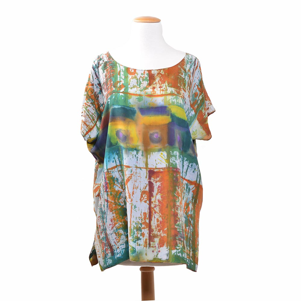 orange white green and blue hand dyed silk tunic, art clothing, comfortable handmade clothing, folk art center
