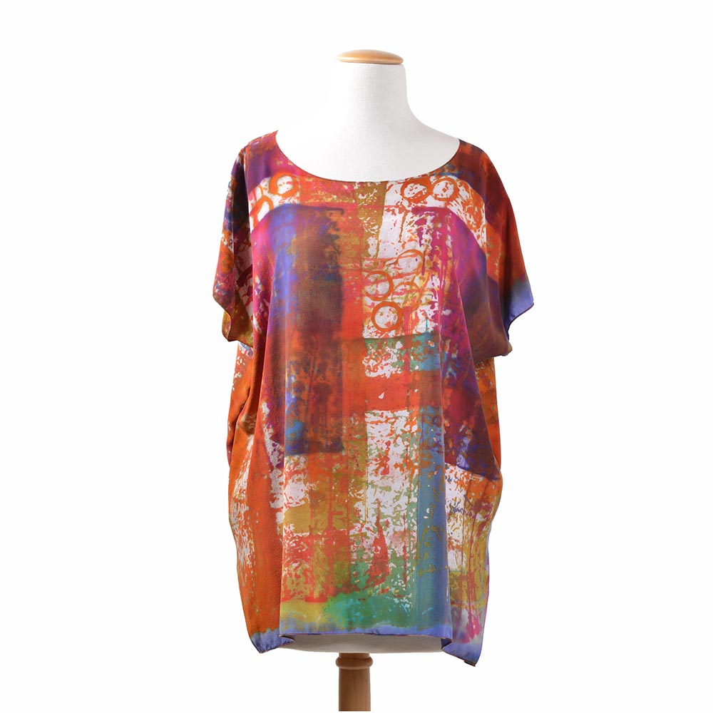 silk tunic, hand dyed and hand made silk tunic, nc fiber artist, artistic clothing