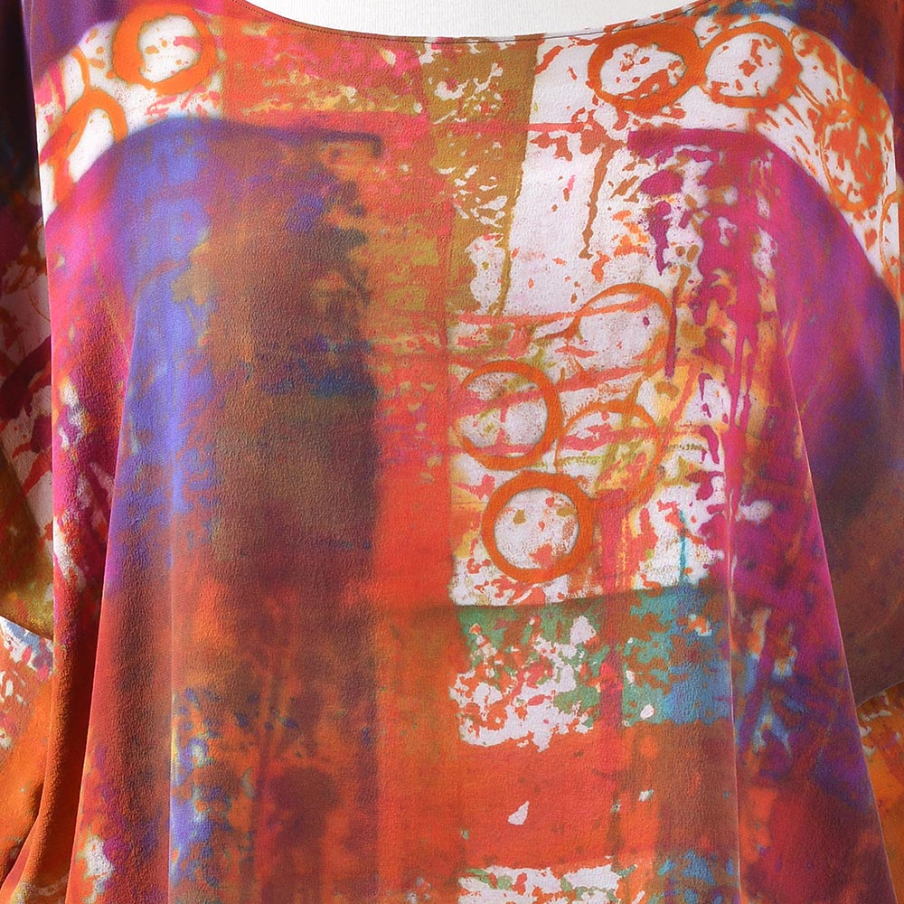 orange and pink handmade tunic, tn fiber artist