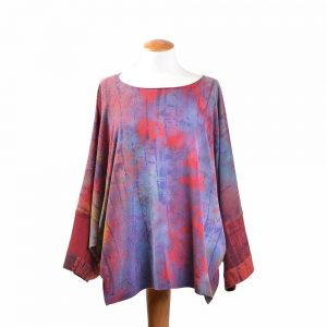 hand dyed clothing, handmade womens top, asheville fiber arts, artistic clothes, hand dyed silk top
