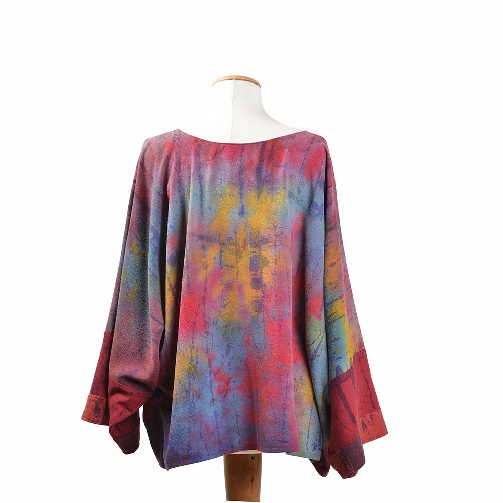 back view of hand dyed silk top, long sleeve silk artistic clothing