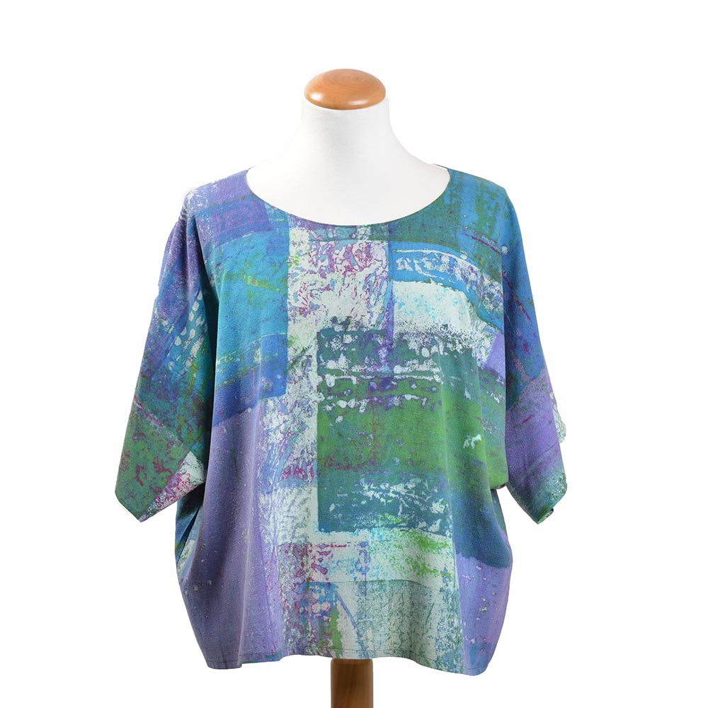 blue purple and green hand dyed silk short sleeve top, handmade artistic clothing, boxy short sleeve handmade shirt
