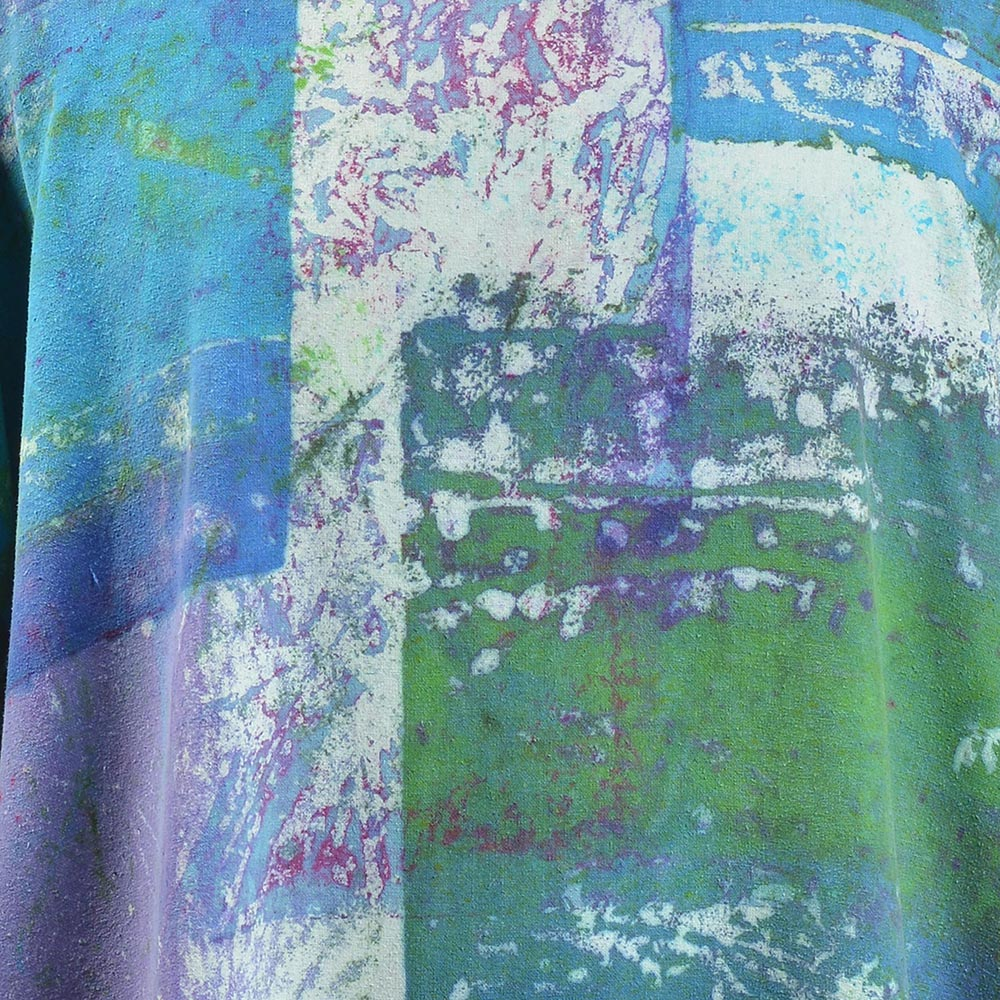 detail of purple blue and green handmade silk short sleeve boxy top