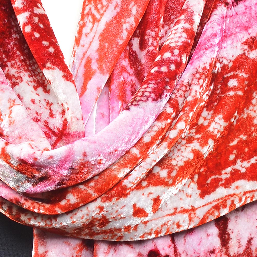 detail of red white and pink hand dyed velvet scarf, folk art center