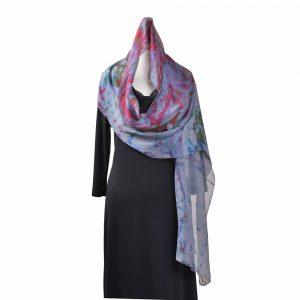 hand dyed chiffon scarf, purple and pink handmade scarf