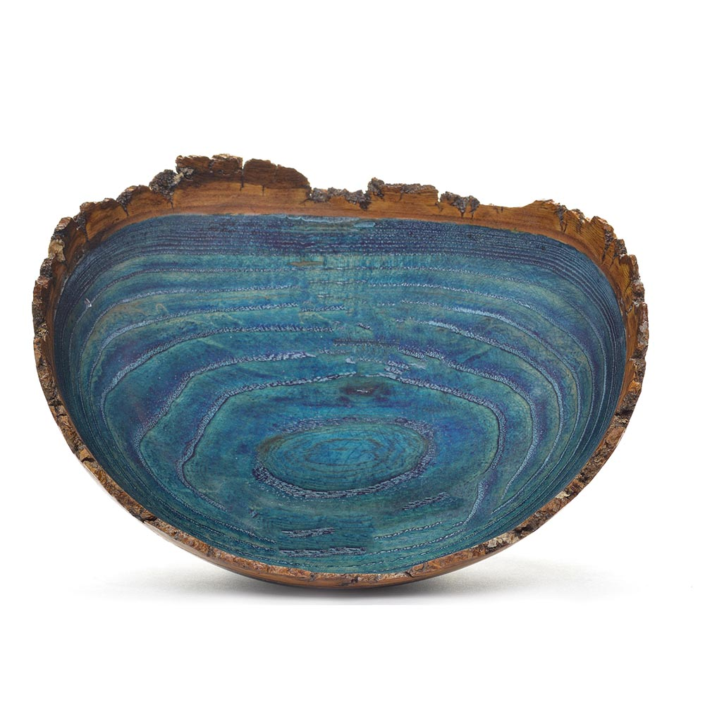 Turquoise Natural Edge Dyed Ash Bowl by Tina & Bill Collison