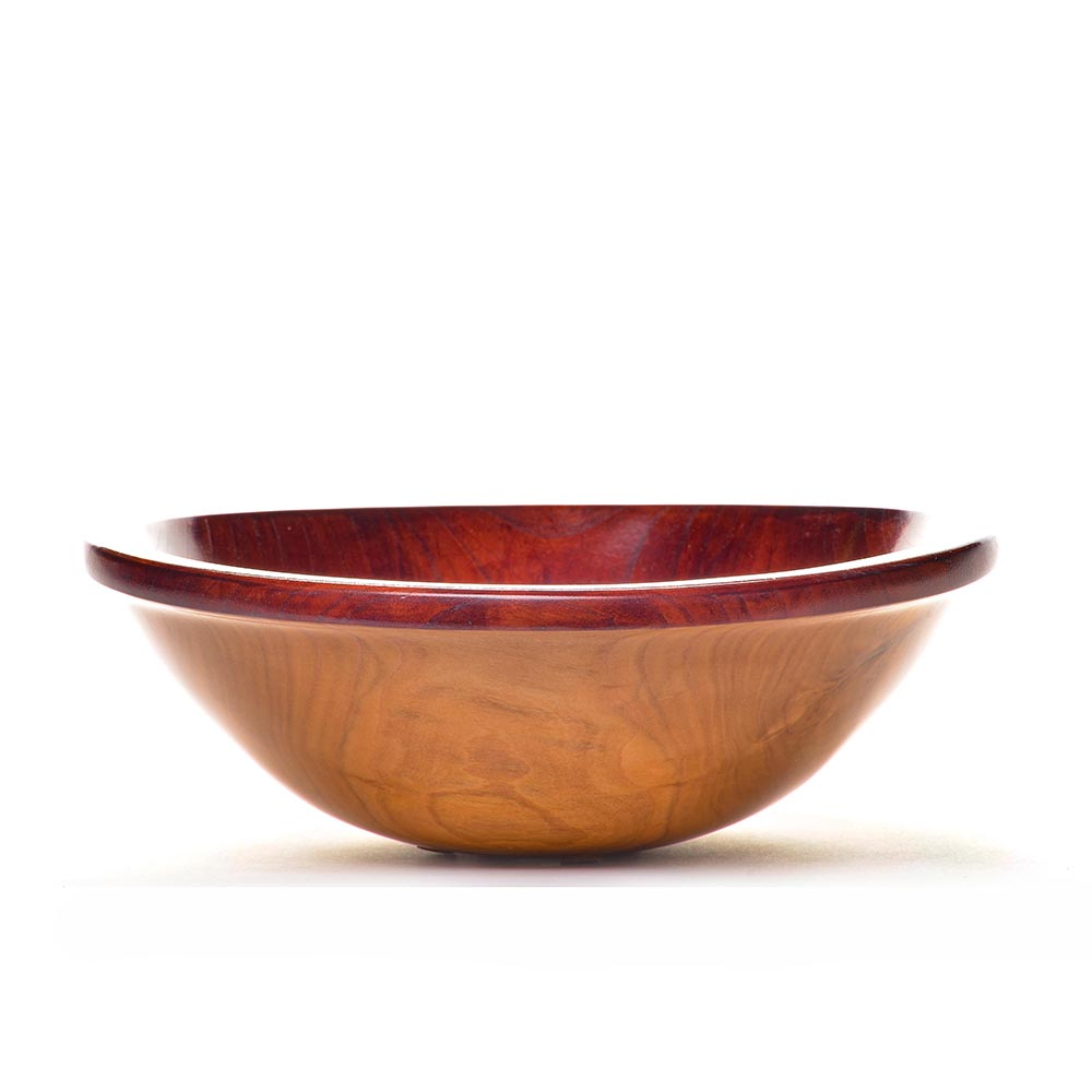 red and natural colored turned ash wood bowl, american woodturner, ash wood art,