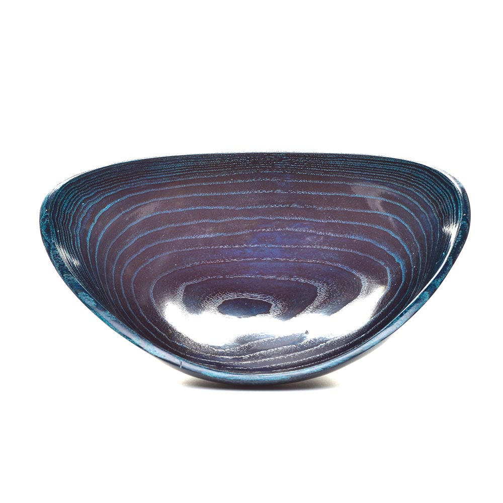 dark blue wooden bowl, ash stained bowl