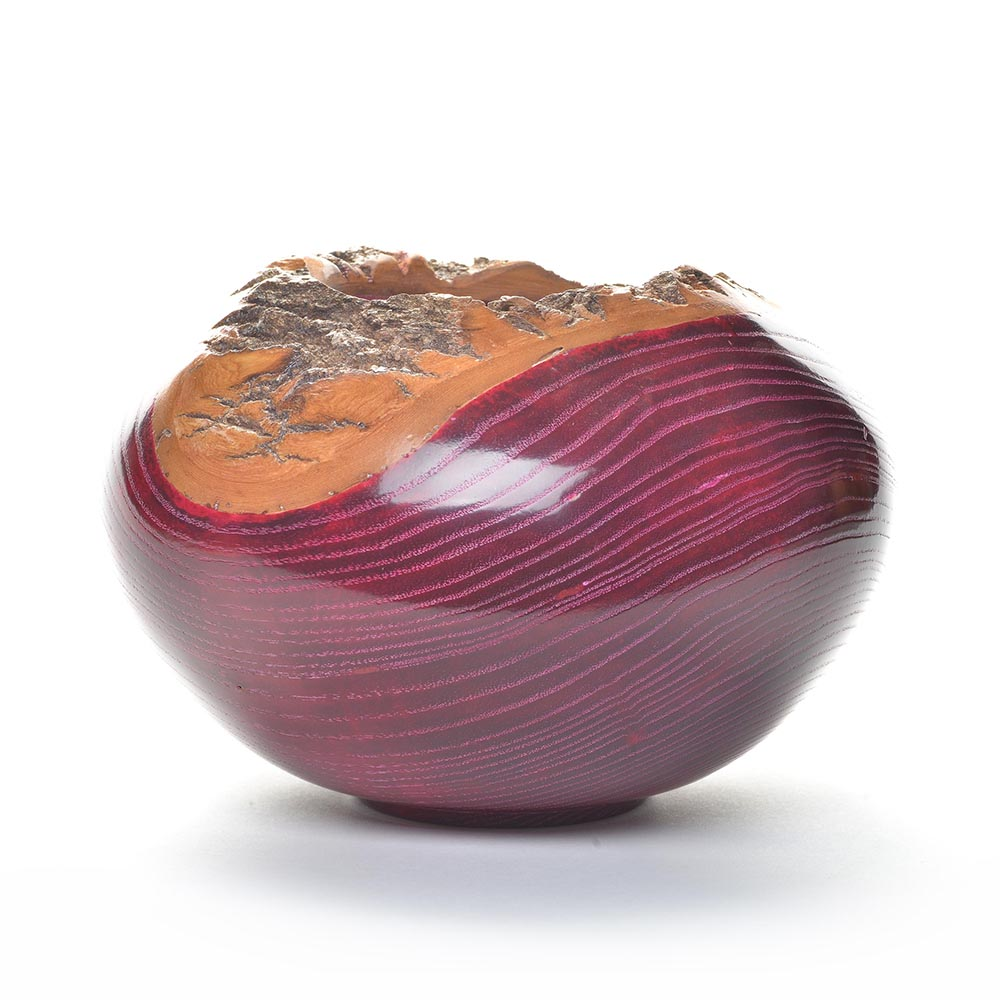 red dyed ash wood turned vessel, american woodturners