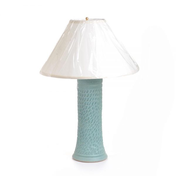 handmade ceramic lamp, large green clay lamp, sc pottery, sc clay, mountain home decor,
