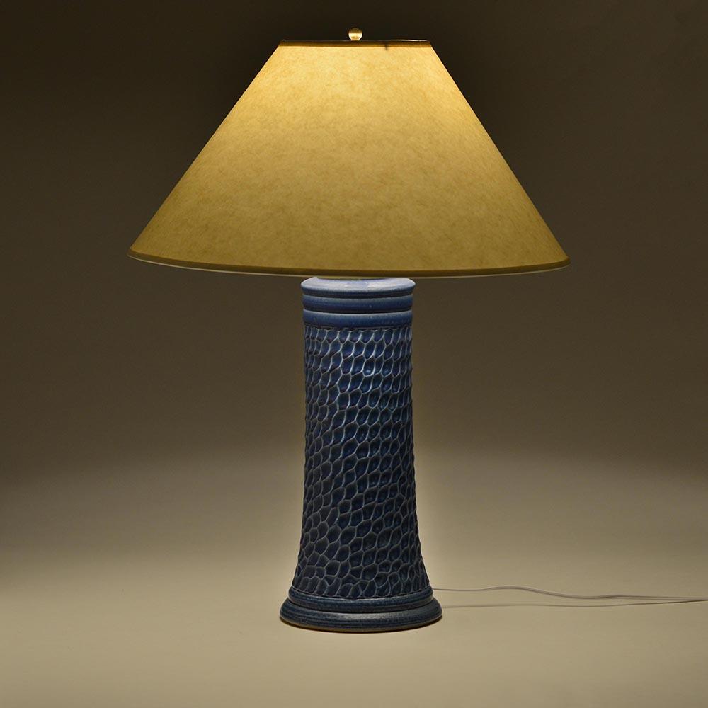 cobalt blue lamp with white lamp shade, handmade lamp, mountain home decor