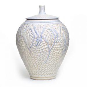 huge ceramic jar, carved white and blue jar, extra large ceramic jar, large clay jar