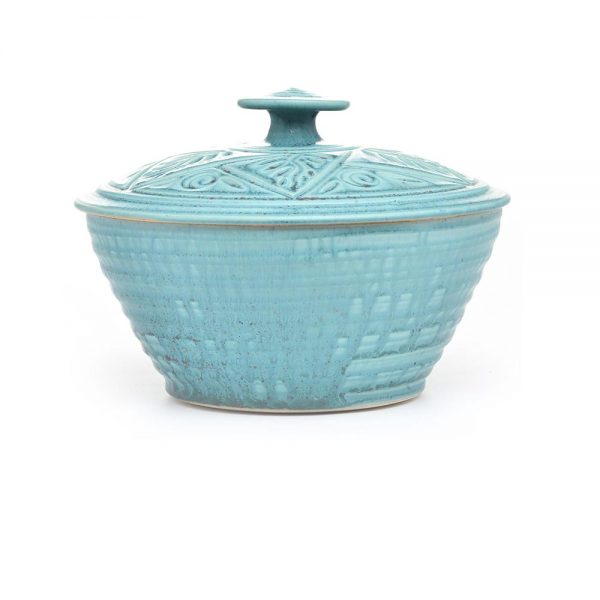 turquoise handmade ceramic casserole dish, potluck dish, tall lidded clay pot