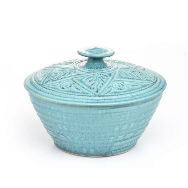 carved lidded wheel thrown casserole dish,