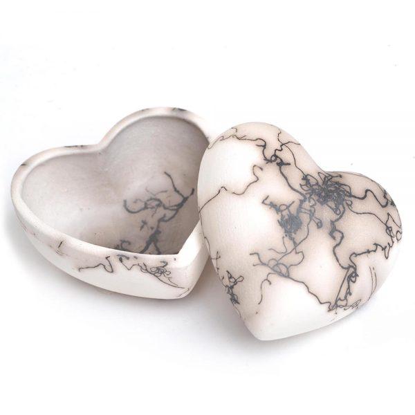 mini heart box, ceramic heart ring box