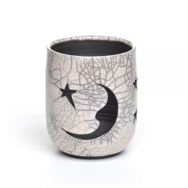 moon and star small lantern, hippy luminary, millennial gift, handmade lantern, nc pottery, affordable handmade teen gift