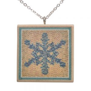 unique winter necklace, colored wood puzzle necklace, featherwood