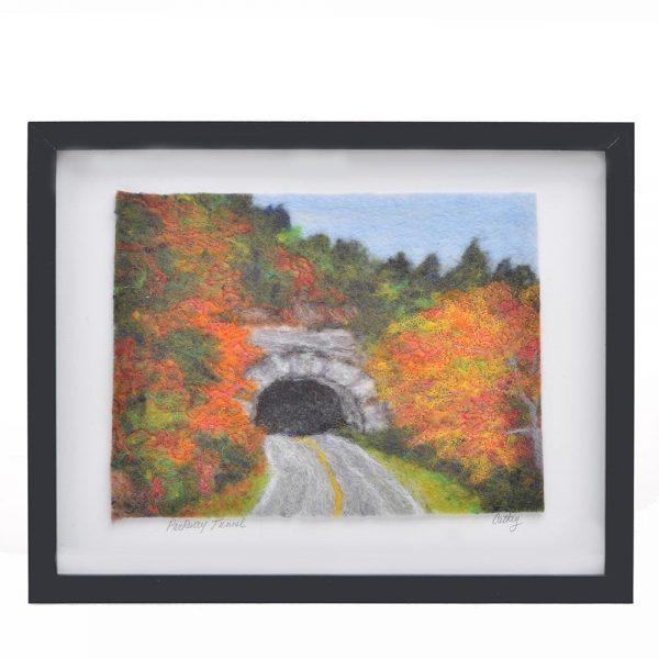 felted landscape, mountain home decor, blue ridge parkway painting, appalachian landscape, brp,
