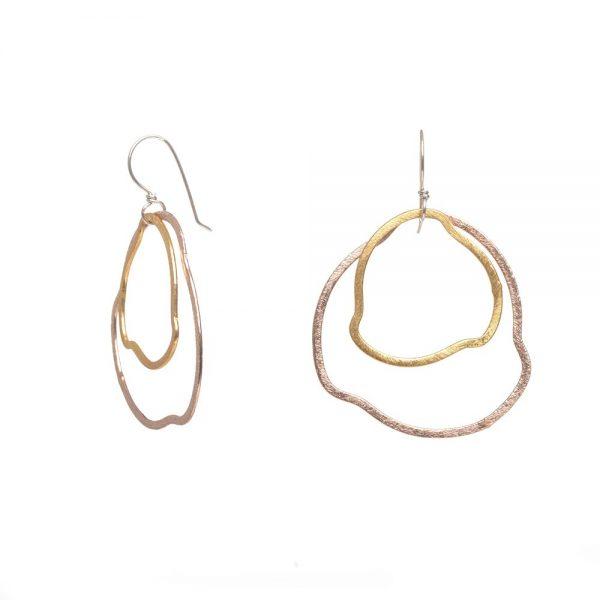 side view of mixed metal earrings, elegant handmade earrings