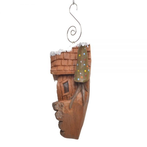 bark carving cottage, small wood carving ornament