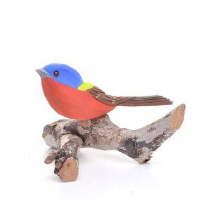 indigo bunting carving, colorful bird carving, nc bird carver