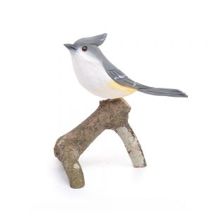 handmade carved and painted tufted titmouse, white and gray bird sitting on a stick, nc bird