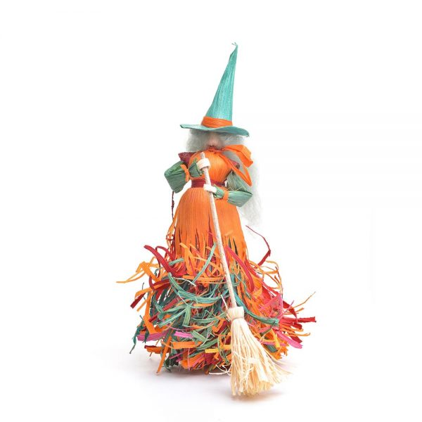 orange and green large corn shuck witch