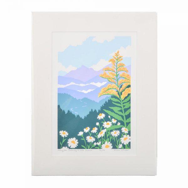 parkway print, colorful mountain wall print, nc printmaker, print with goldenrod and daisies