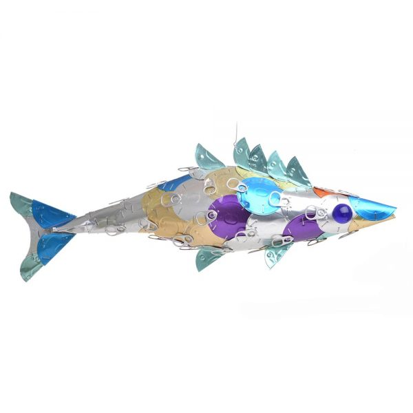 rainbow fish sculpture made using recycled cat food lids