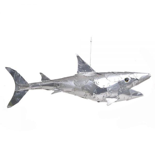 recycled shark sculpture
