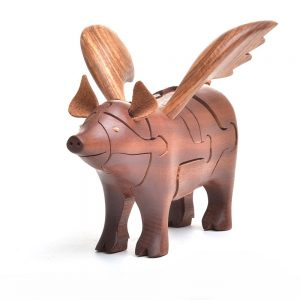 flying pig handmade wooden puzzle with large wings