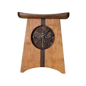 handmade mantle clock, dragonfly clock