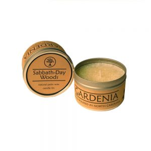 gardenia handmade candle, nc candle, fire safe candle