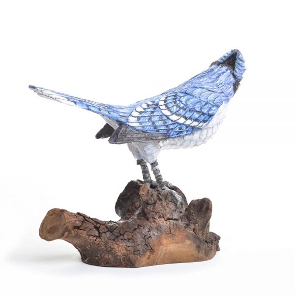 blue jay carving, handcarved blue jay, bird carvers