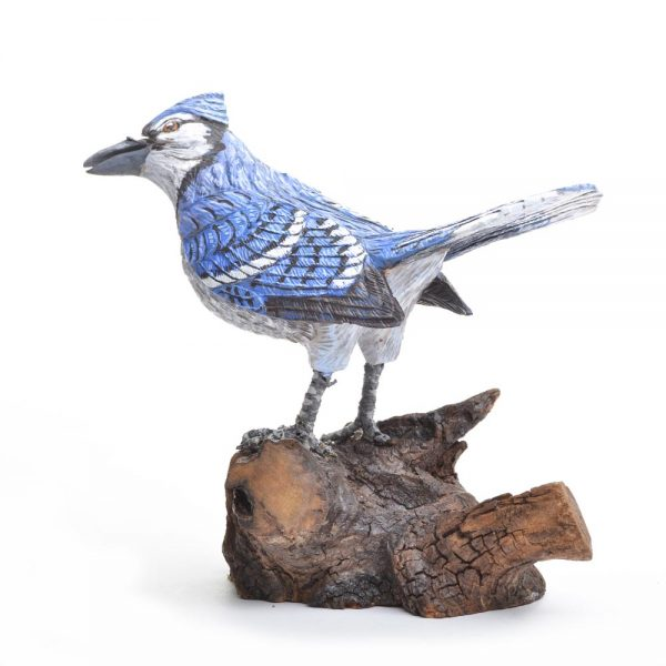 handmade blue jay carving, va bird carver, bird watching, nature art