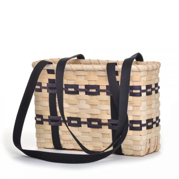 natural and black strap basket, basket with long handles