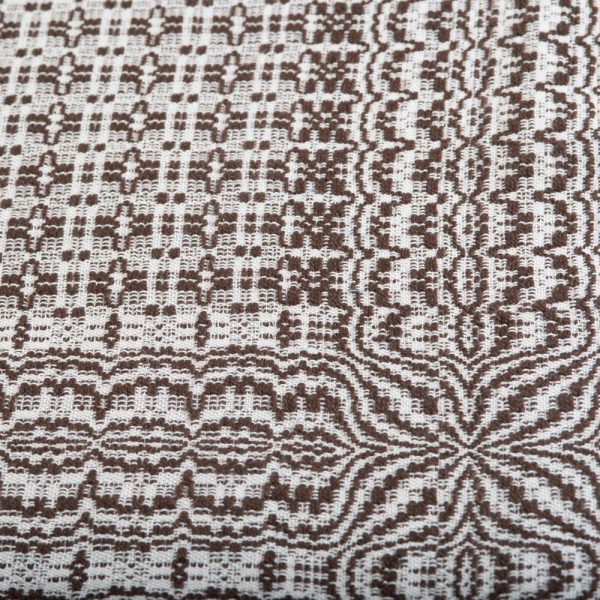 brown and white handwoven table runner, traditional crafts, mountain home decor,
