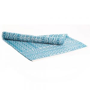 blue and white handwoven table runner, traditional fiber artist