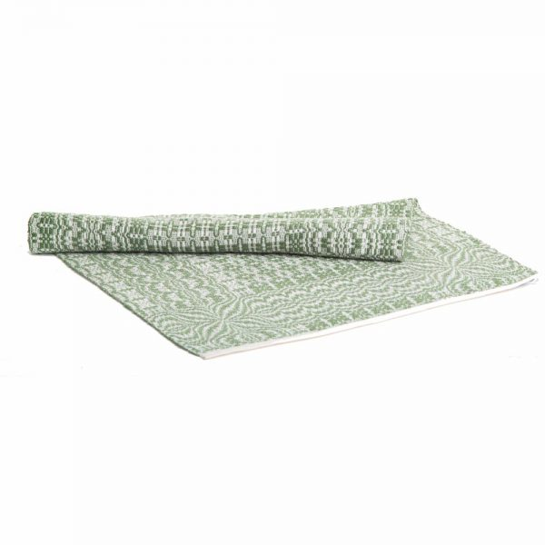white and green overshot table runner, handwoven table runner, traditional weaving