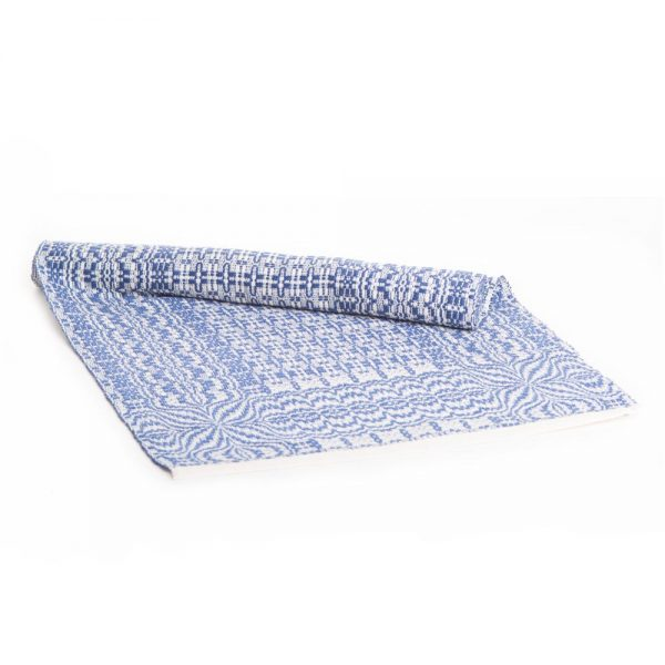 white and dark blue handwoven overshot table runner, traditional crafts, mountain home decor