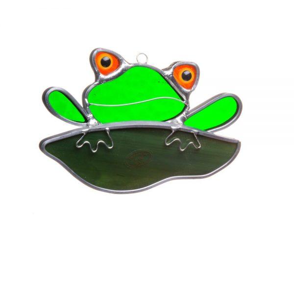 frog suncatcher, nature window art, green frog suncatcher