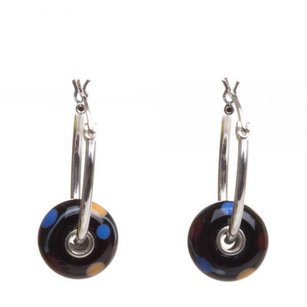 glass beads on hoops, handmade glass beads on silver hoops