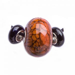 orange and black handmade glass beads, lamp worked glass beads, tn glass beads