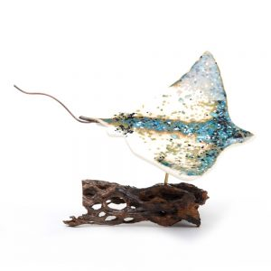 glass stingray sculpture, white and turquoise beach home decor