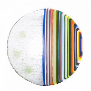 fused glass bowl, colorful handmade centerpiece, nc glass artist,