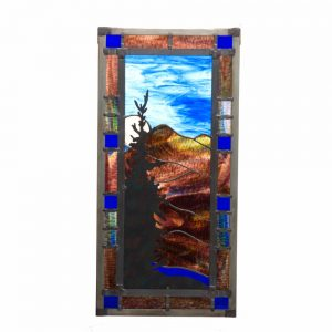 mountain stained glass panel, folk art center stained glass, mountain home decor