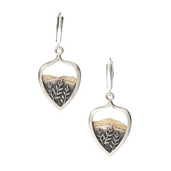 mountain earrings, handmade silver mountain earrings