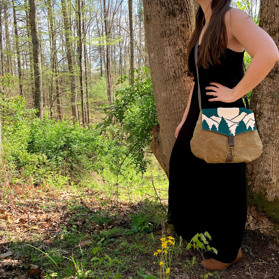 white teal and brown cross body handmade and hand printed bag, asheville canvas bag, mountain scene bag