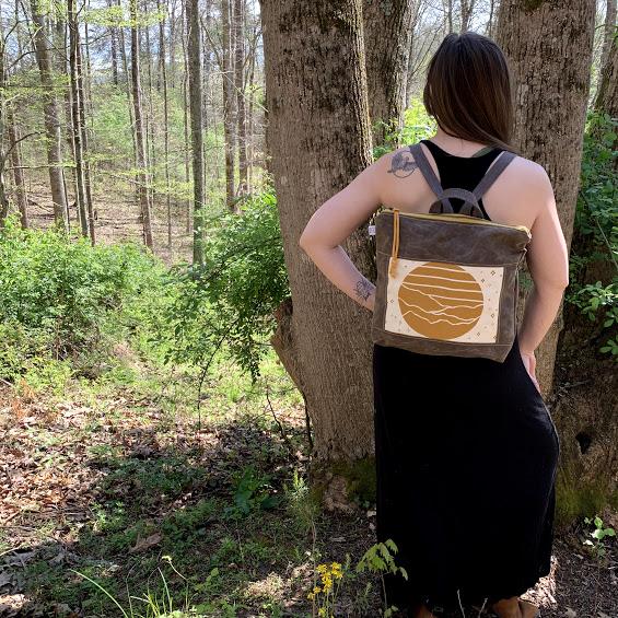millennial gift, casual back pack, waxed canvas yellow and brown bag, handmade back pack, hiking bag